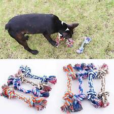 Hot Pet Dog Play Toy Animal Knitted Bone Rope Chewing Double Knot Random 1PCs
