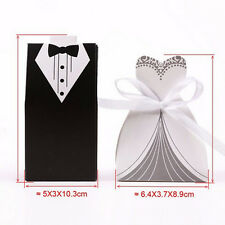 Romantic Wedding Favor Candy Box Bride & Groom Dress Tuxedo Party Ribbon 50 pc