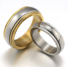 HIS HERS STAINLESS STEEL SILVER GOLD EDGE ETERNITY WEDDING COMFORT BAND RING SET