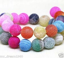 6/8/10mm Natural Mix Color Fire Dragon Veins Agate Round Gem Loose Beads 15''AAA