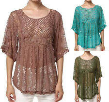 Lady Summer Casual short sleeves lace Loose Tops T Shirt Tee Blouse plus size