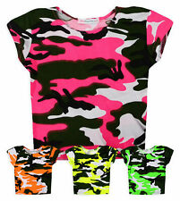 Girls Short Sleeved Vibrant Neon Camo Crop Top New Kids Summer Top Ages 7-13 Yrs