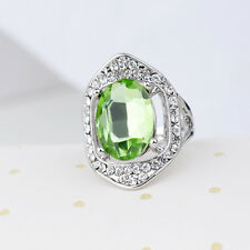 18K White Gold Plated Green Crystal Ring Elegant Jewelry CZ Rhinestone Gift