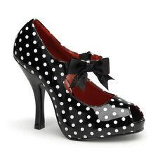 Pin Up Couture CUTIEPIE-07 Black-White Patent (Polka Dots Print) Mary Jane Shoe