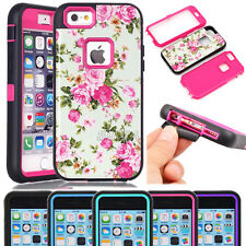 Glossy Flowers Pattern Heavy Duty Combo Hybrid Armor Case For iPhone & Samsung
