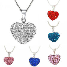 Fashion Crystal Heart Silver Plated Necklace Jewelry Pendant Chain