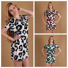 New Women Round Neck Dress Summer Leopard Casual Club Evening Party Mini Dress