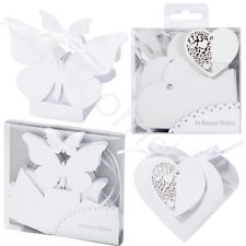 White Wedding Favour Boxes Butterfly or Filigree Heart Favour Party Sweet Boxes