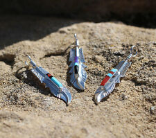 Navajo Native American Sterling Silver Handmade Feather Inlay Pendant