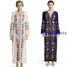 Hippie Mexican Ethnic Boho Embroidered Pessant Womens Flower Beach Maxi Dress Sz
