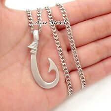 FISHHOOK Fish Hook Design Solid Stainless Steel Pendant Curb Chain Necklace Set