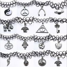 Stretch Tattoo Choker Necklace Pendant Retro Henna Punk Elastic Gothic 80s 90s