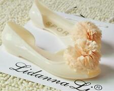 Sweet Lady's Bohemian Flowers Candy Color Fish Head Shoes Jelly Flat Sandals D64
