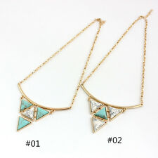 Long Gold Plated Triangle Turquoise Pendant Chain Charm Necklace Jewelry Gift
