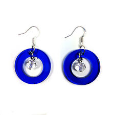BLUE Transparent Laser Cut Acrylic Circle & Crystal Bead Drop Modern Earrings