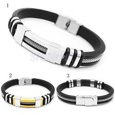 unk Silicone Stainless Steel Adjustable Charm Rope Bracelet For Men Gift