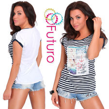 Casual Sequined T-Shirt Sailor Print Crew Neck Top Party Tunic Size 8-12 FB232