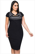 Elegant Short Sleeve Chest Cut Out Hot Silver Stamping Women Dress Plus Size