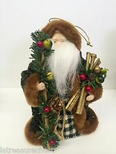 Woodland Santa Claus Christmas Tree Ornament with Green Velvet Coat 6.75 Inches