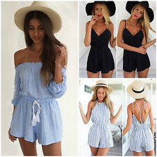 Womens Celeb Strap Playsuit Romper Beach Sundress Ladies Summer Jumpsuit Shorts