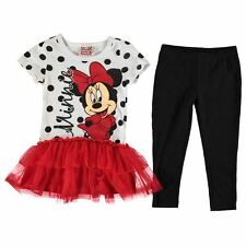 Disney Childrens Frill Dress Set Baby Girls Short Sleeve Crewneck