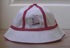 NEW Baby Girls Clothes 1-2yrs 2-3yrs 3-4yrs White Summer Hat With Red Trim Boat