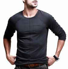 Mens T-Shirt Casual Round Collar Cotton Long Sleeve Slim Basic Tee Black M-XXL