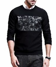 Mens Long Sleeve Shirt Round Neck Floral Guard Garments Pullovers Tee M L XL XXL