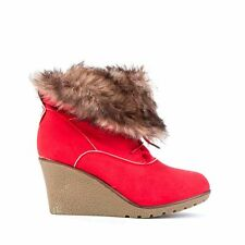 Womens Ladies Red Faux Fur Mid Wedge Heel Shoes Ankle Boots Size UK 4,6,7 New
