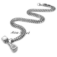 Men's Dumbbell Bodybuilder Solid 316L Stainless Steel Pendant Chain Necklace Set