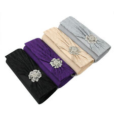 Elegant Satin Pleated Leaves Crystal Flower Clutch Evening Bag - Diff Colors