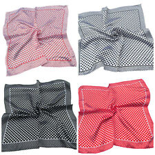 4 COLOURS SILK SATIN FEEL LADIES SMALL NECK 50cm SQUARE SCARF SPOTTED POLKA DOTS