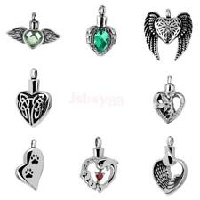 Pet Cremation Jewelry Angel Wing Crystal Heart Pendant Memorial Urn Necklace