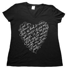 Love Is Kind Patient Bible Quote Verse Christian Ladies V Neck T shirt
