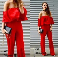 ZARA �� STUNNING RED OFF-THE-SHOULDER JUMPSUIT �� SIZE S �� Ref. 2784/840
