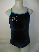 Gymnastics Dance Leotard Navy Velvet Diamante Butterfly