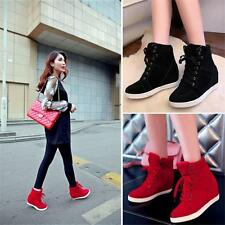 2016 Hot Sale Womens High Top Lace Up Athletic Sneakers Shoes Lady Wedge Ankle