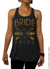 Bride Tribe - Feathers and Arrows Bridal Collection - Black/Gold Flowy Tank Top