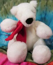 "Russ Berrie Coca-Cola Polar Bear 8"" Plush White Bear in Red Winter Scarf"