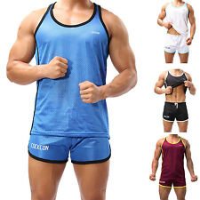 Mens Mesh Breathable Jersey Tank Trunks GYM Athletic Sports Suits Quick Dry Run