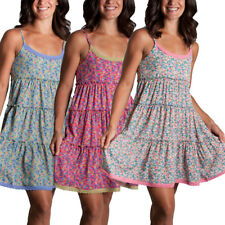 Just Funky Floral Print Tiered Baby Doll Dress Lace Trim A-Line Adjustable Strap