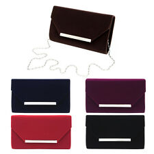 Elegant Solid Color Velvet Clutch Evening Bag Handbag - Diff Colors