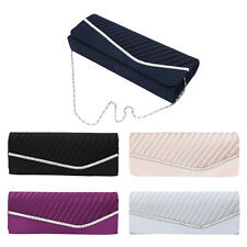 Elegant Pleated Satin & Crystal Flap Clutch Evening Bag - Diff Colors Avail