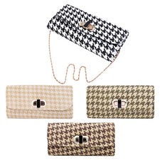 Classic Houndstooth Turnlock Flap Straw Clutch Bag Handbag - Diff Colors