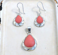Dawn Pendant & Earrings Set Sterling Silver Handmade in Coral and Onyx