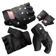 LEATHER FINGERLESS GLOVES FLAT STUDS CYCLING DRIVING BIKERS WHEELCHAIR USE & GYM