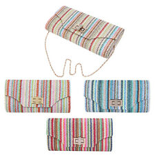 Multi Color Chevron Turnlock Flap Braided Straw Clutch Bag Handbag - Diff Colors