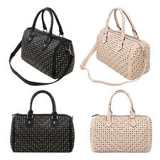 Premium Solid Color Studded Rhinestone Satchel Tote Shoulder Bag Handbag