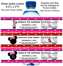 PERSONALIZED MINNIE MOUSE BIRTHDAY, BABY SHOWER WATER BOTTLE LABELS, WRAPPERS