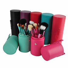 Pro 12pcs Makeup Brush Set Cosmetic Make up Tool Kit + Leather Cup Holder Case